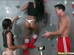 Black girls drag inflate cock elbow shake climbing gym