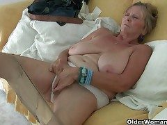 British granny Isabel has ample boobies and a fuckable fanny