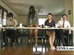 Subtitled bizarre Japanese bottomless no undies family