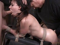 Chick next door used like a sex slave in bondage
