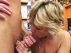Wondrous blonde mature nails him in the video store