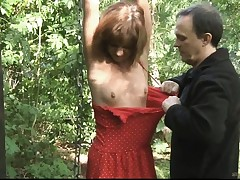 Teenager victim tied smacked and fucked in the woods